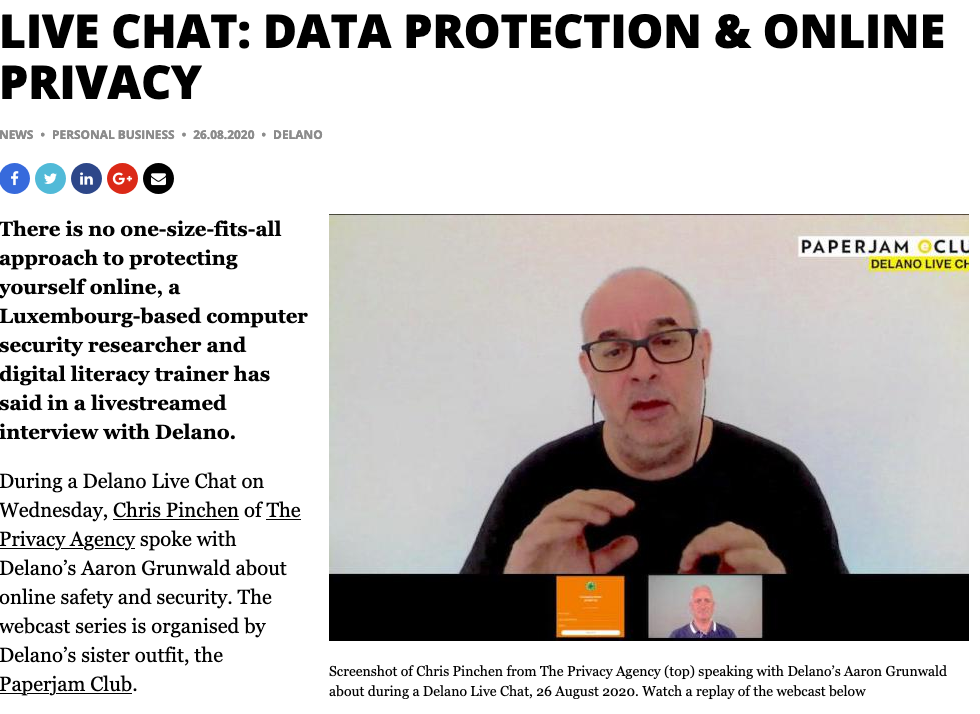 Delano Live Chat: Data protection & online privacy replay