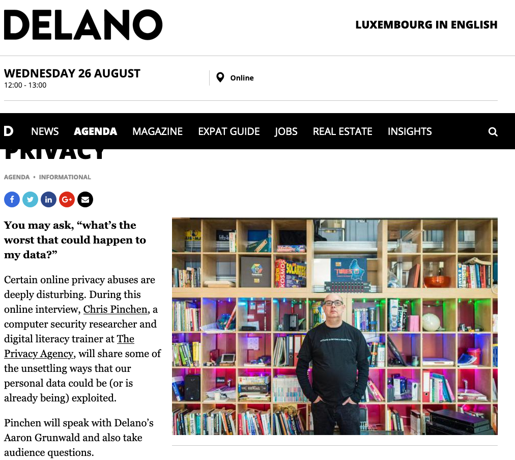 Delano Live chat: Data protection & online privacy – 26 August 2020
